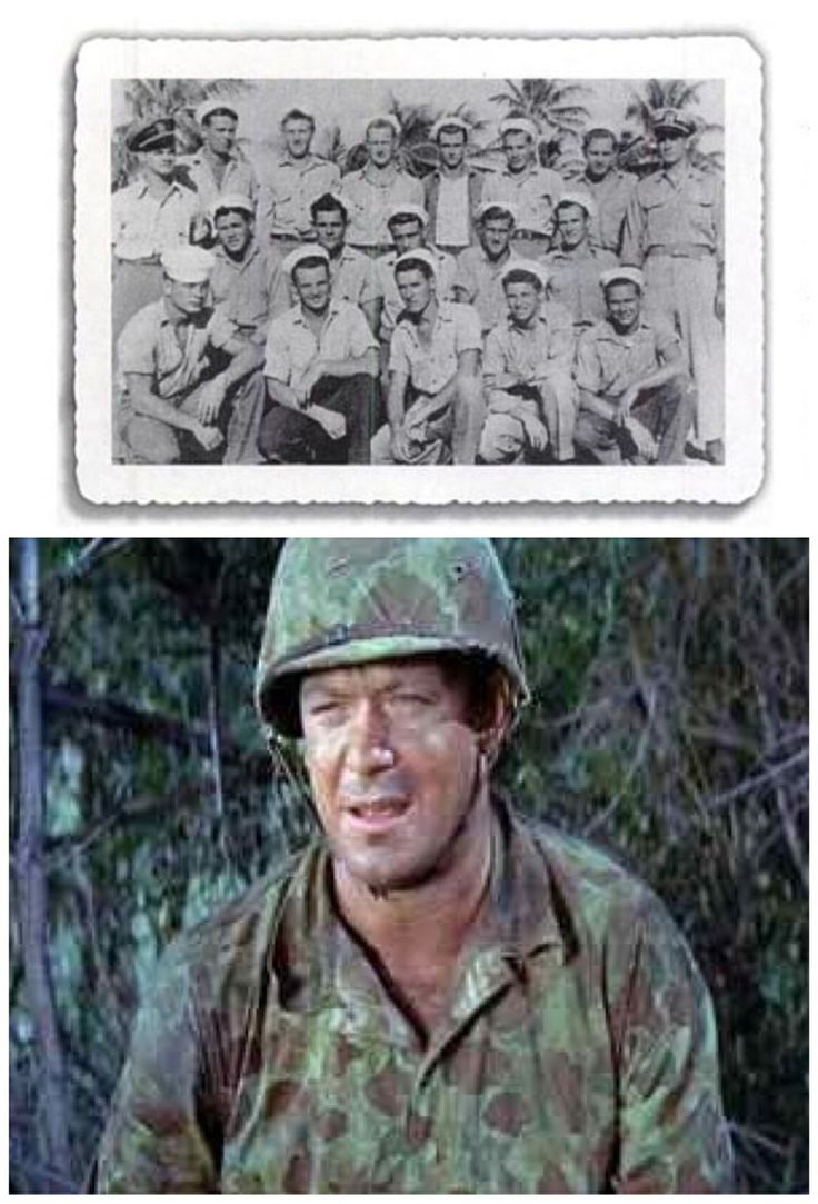 Aldo Ray:Actor-Navy-1944-serving as a frogman until 1946; he saw action at Okinawa with UDT-17. He is pictured on the lower right.