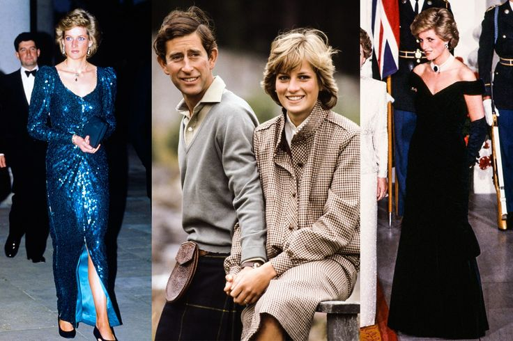 """From left to right: Princess Diana at a charity ball at Osterley House wearing her """"mermaid"""" dress by Catherine Walker, May 1989; With Prince Charles on their honeymoon by the River Dee wearing a Bill Pashley tweed day suit, August 1981; At a visit to the White House in Washingtonm D.C. wearing a black dress by Victor Edelstein, November 1985. From left to right: From the Hulton Royals Collection, by Bob Thomas/Popperfoto, by Jean-Louis Atlan/Sygma, all from Getty Images."""