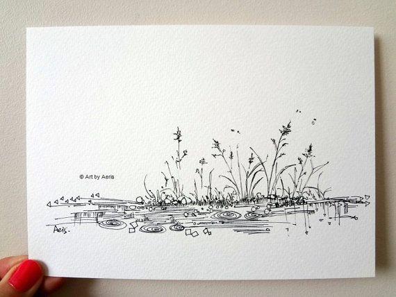 Simple and Fresh Rain Pond Ink Pen Drawing  5 x 7 by ArtbyAeris, $7.00