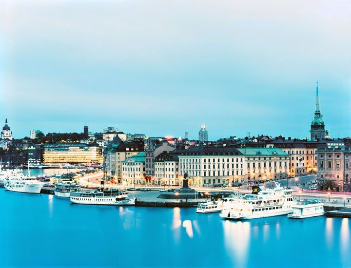 Stockholm's Gamla Stan, or Old Town, occupies one of fourteen islands that constitute the capital.