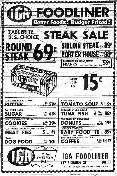 ☜(◕¨◕)☞   Grocery ad from 1947