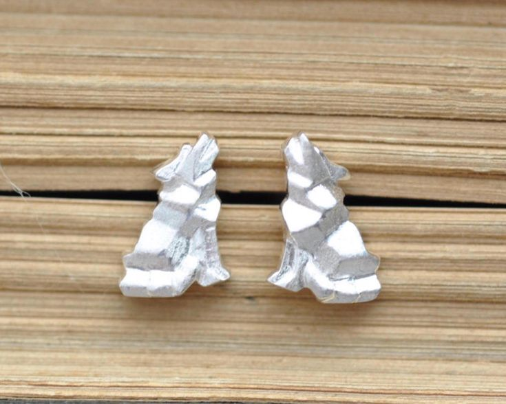 """Another Review for these cute little wolves!  ★★★★★ """"Quick shipping and packaged well. Purchased as a gift-very cute!!"""" Christopher C.  http://etsy.me/2AL0vIB   #jamberjewels #origamijewelry #origamianimal #giftforher #wolfearrings #origamiwolf"""