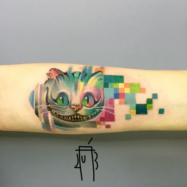 Pixelated Cheshire Cat Tattoo by Alexey