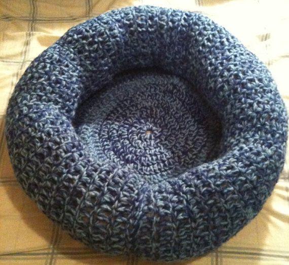 Scrap Yarn Blue Crocheted Cat or Small Dog Bed by TiffanysCraft, $19.99