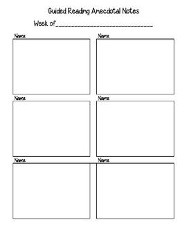 Use these note-taking sheets to organize your anecdotal notes during Guided Reading and literature circles. This product allows you to monitor student progress each week by keeping track of patterns, issues, and important successes in your students' reading.
