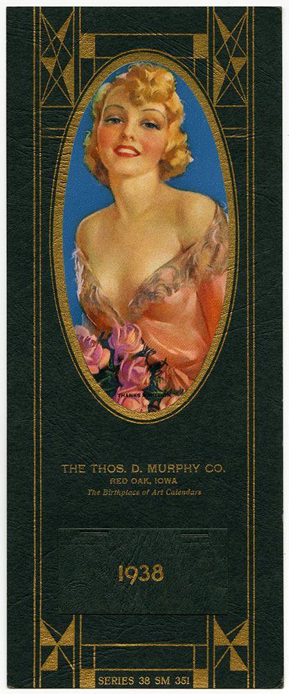 Vintage 1938 Jules Erbit Sultry Buxom Beauty Pin-Up Calendar Thanks a Million NR
