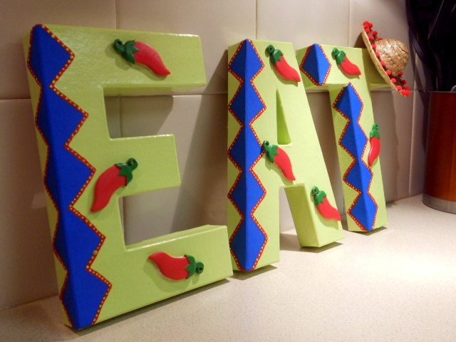 Mexican Kitchen Word Eat With Sombrero And Chili Peppers Kitchen Decor Maybe Diy