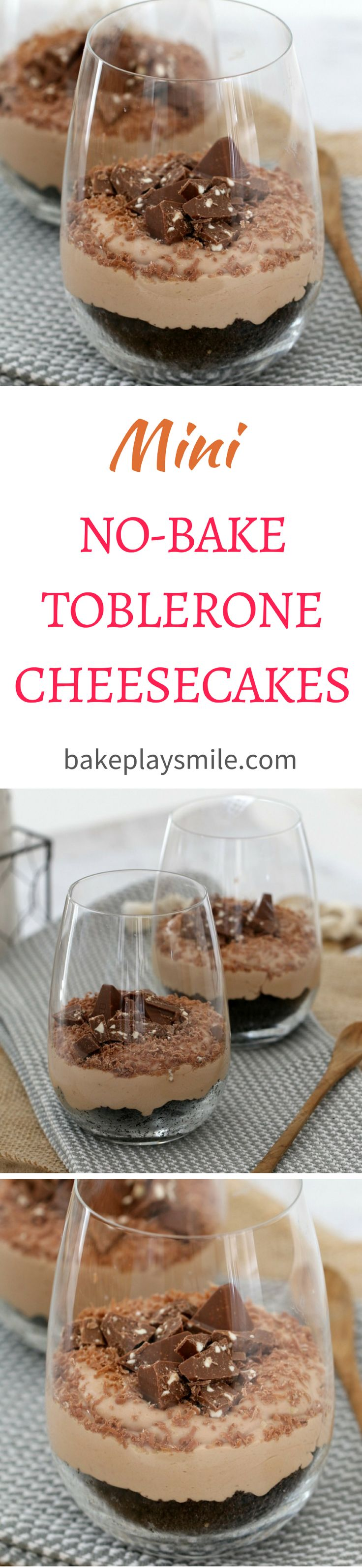 The most delicious mini no bake Toblerone cheesecakes you'll ever eat. Super quick and easy to prepare… these individual desserts really are the BEST!   #toblerone #mini #individual #cheesecakes #baking #dessert #conventional #thermomix #recipe