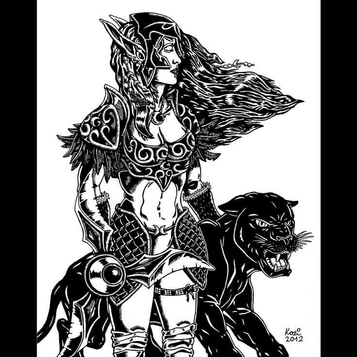 Night Elf huntress (WarCraft) | pen drawing | 2012 on Behance