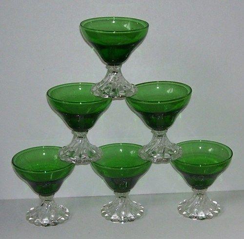 Dark Verdigris Green Ornate Pedestal Light: 6 Pedestal Stem Dark Green Glass Sherbet Dishes