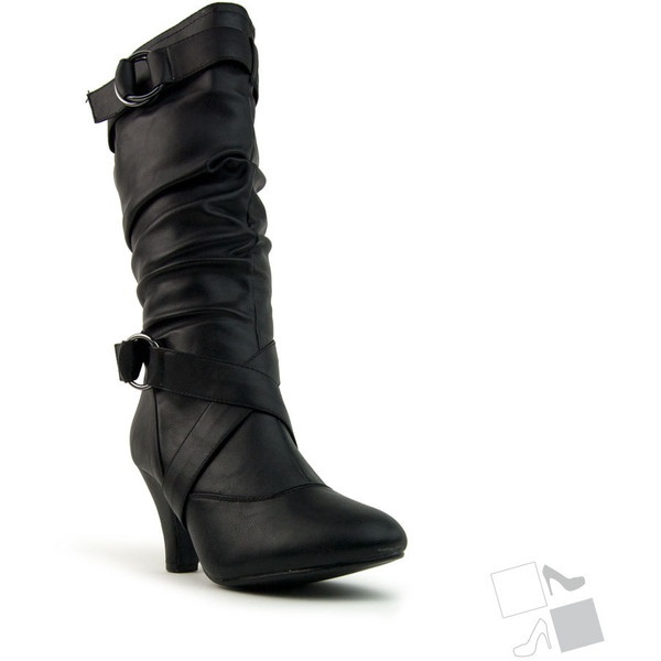 Black Buckled Ruched Mid-Calf Boots MyHotShoes.com ($27) via Polyvore