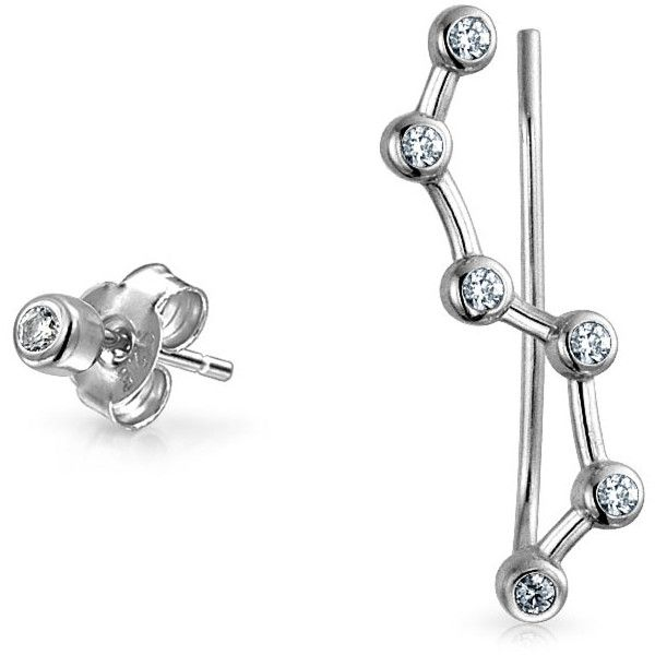 Bling Jewelry Bling Jewelry 925 Silver Cz Constellation Ear Pin Stud... ($17) ❤ liked on Polyvore featuring jewelry, earrings, grey, pin jewelry, silver jewellery, cz stud earrings, cz jewellery and silver cz jewelry