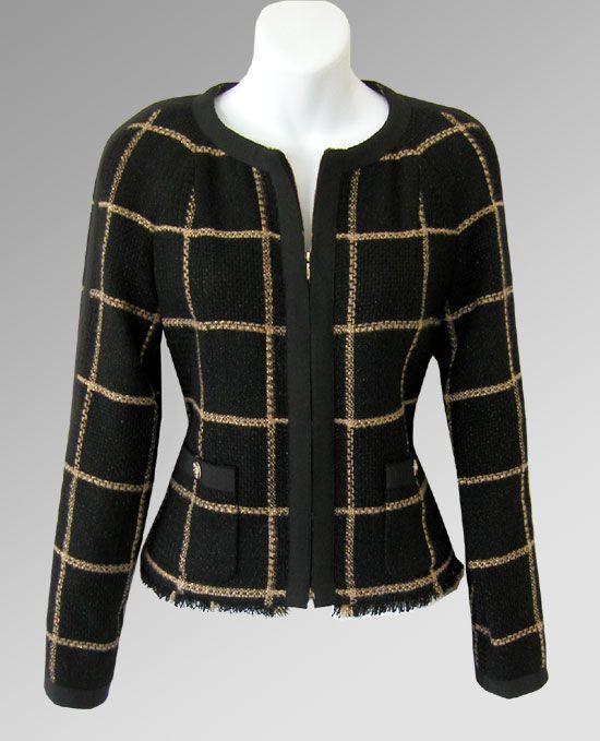 CHANEL 09A Gold & Black Grosgrain Trim Zip Jacket 09A-ParisMoscowGrosgrainRibbonBlkGoldJacket