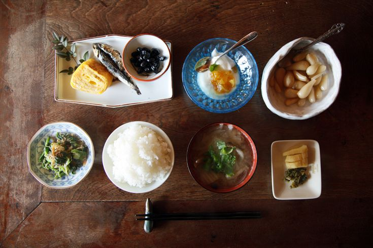 varied dish shapes  Traditional Japanese breakfast.  Nice and neat.