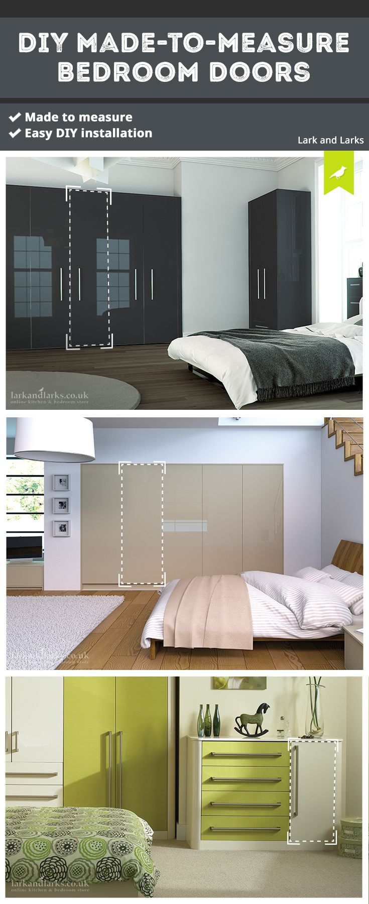 our made to measure replacement doors can be installed by yourself at your convenience - Ly Design Your Bedroom