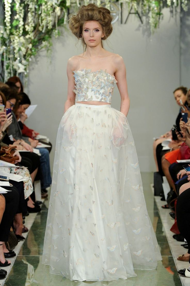 butterfly applique crop top wedding dress from theia