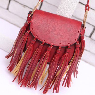 Fashionable Solid Colour and Tassels Design Women's Crossbody Bag