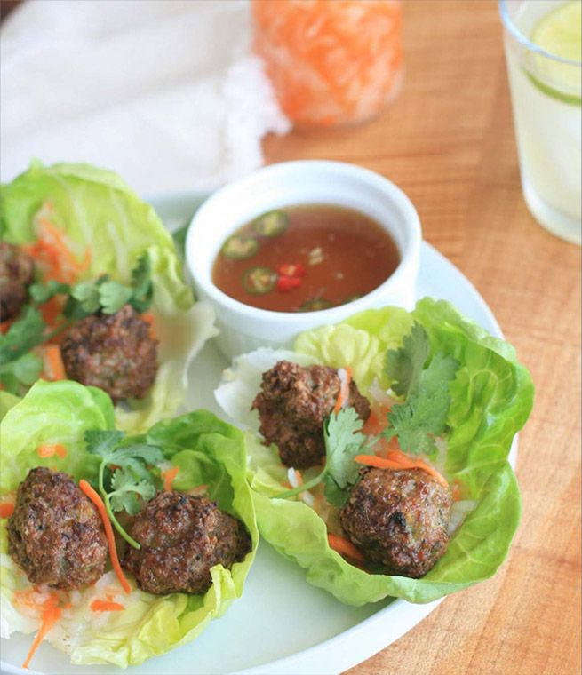 """VIETNAMESE PORK MEATBALLS   5 cloves garlic, peeled  * 2 stalks lemongrass, woody ends trimmed and outer leaves removed (just use the bottom 3-4""""), thinly sliced  * 1-1/2 Tablespoons fish sauce  * 1-1/2 Tablespoons sugar  * 1 pound ground pork  * 1/4 cup roughly chopped green onion  * 1/4 cup cilantro leaves  * 1 teaspoon baking powder"""