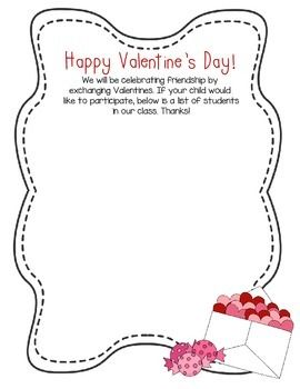 This Is A Free Template For A Valentines Day Class List