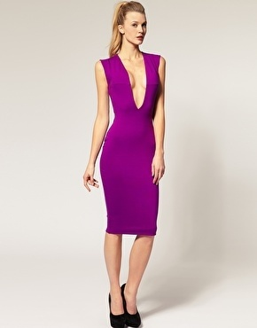 AQUA Vendetta Low neck midi pencil dress $125 #fashion #outfit #clothes #dress #midi #sexy #girl #purple #style #stylish #chic #date #party #club #feminine #spring #trend #valentines day