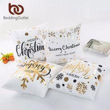 BeddingOutlet Bronzing Natal Ouro Impresso Tampa Decorativa Fronha Sofá Travesseiro Capa de Almofada Fronha Assento de Carro Macio(China)