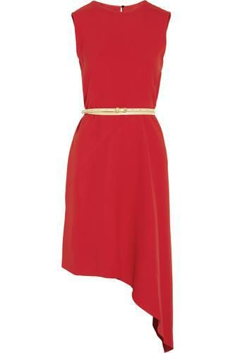 Belted asymmetric crepe dress #dress #women #covetme #victoriabeckham