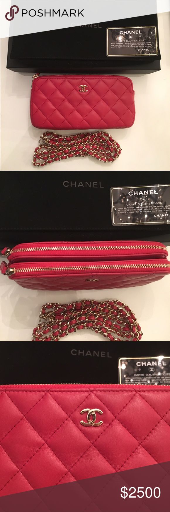 Chanel WOC 2016 BNWT 2016 collection chanel woc brand new with tags 100% authentic. Deep pink/red lambskin with gold hw. Will come with box auth card dust bag.  Brand new rare style and color!  Sold out already. NO trades  Bags Crossbody Bags