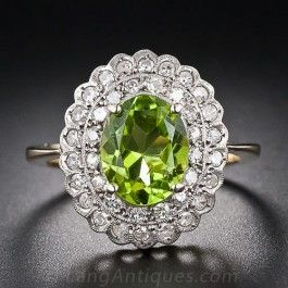 Vintage Peridot and Diamond Ring