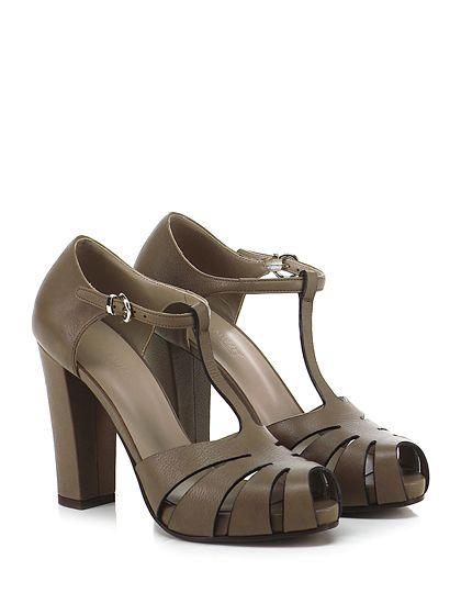 LENA MILOS - Scarpa con tacco - Donna - Scarpa con tacco open toe in pelle vintage con cinturino alla caviglia e suola in cuoio. Tacco 110, platform 20 con battuta 90. - TORTORA - € 265.00