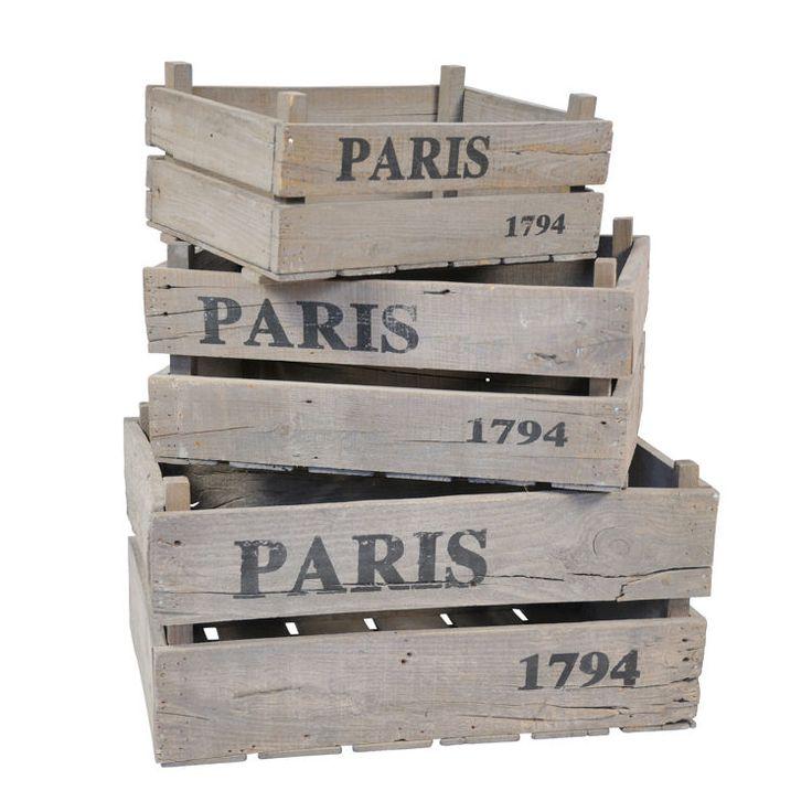 Rustic Parisian Storage Crates