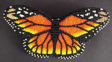 "Mr.  Todd Bordeauxs MONARCH Butterfly PIN w/ Leather Backing  (4 1/4"" x 2 1/4"")  AOI00074a* This is a special order item. For pricing and availability, please call 207 967-2122 or send us an email: admin@homeandaway.biz."