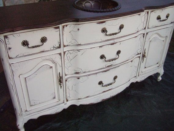 Antiqued French Country Bathroom Vanity Cabinet In French Cream With Dark Walnut Top Bathroom