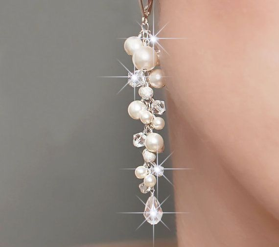 Bridal earrings, long cluster wedding earrings, long pearl and crystal earrings…