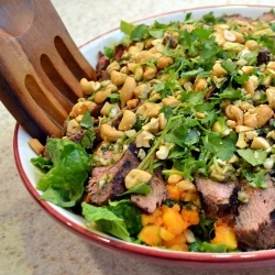 Steak Salad - This grilled steak salad with papaya recipe inspired by Bobby Flay is perfect for a summer dinner.