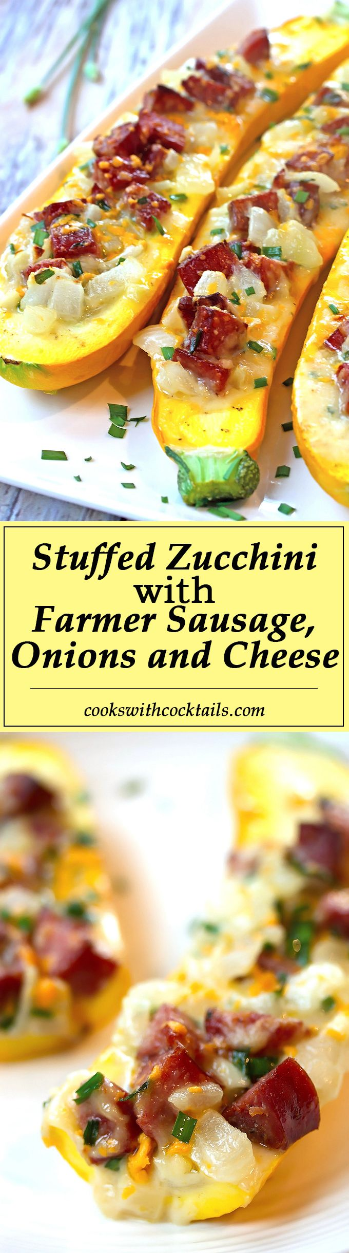 Stuffed Zucchini with Farmer Sausage, Onions & Cheese ~ If I added scrambled eggs, this would be an awesome breakfast.