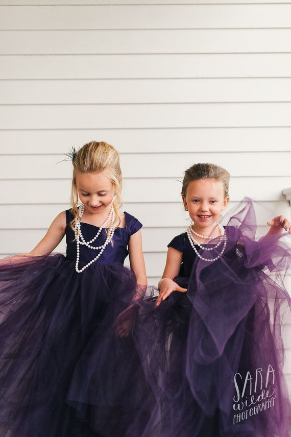 Plum Flower girl dress, floor length flower girl dress / http://www.deerpearlflowers.com/flower-girl-dresses-shops/2/