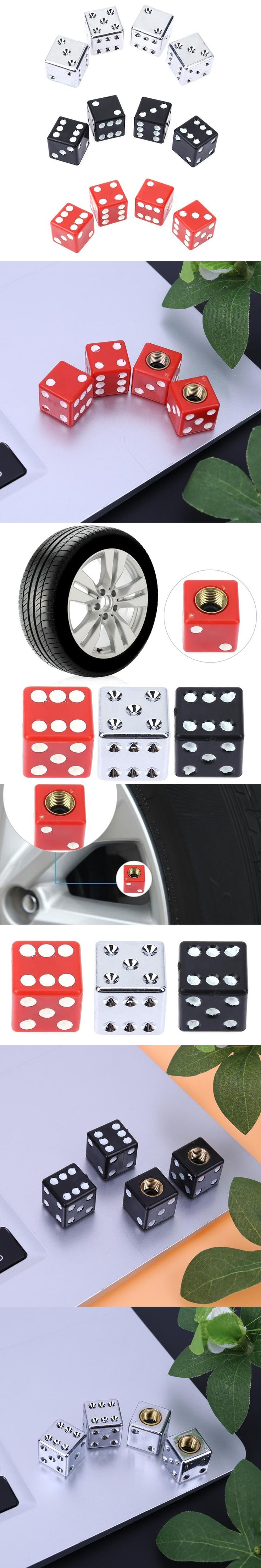 4Pcs Dice Shape Car Truck Bike Tire Air Valve Stem Cap Covers Universal Automobiles Wheel Tyre Rims for Bicycle Motorcycle ATV