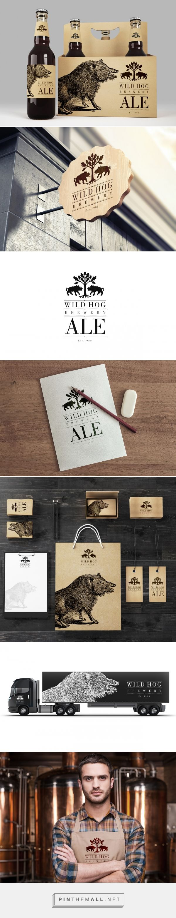 Wild Hog Brewery Branding and Packaging Design by MAISON D'IDÉE curated by Packaging Diva PD. Aim of this design was to avoid any typical beer-like clichés when it comes to brewery logo design or packaging itself.