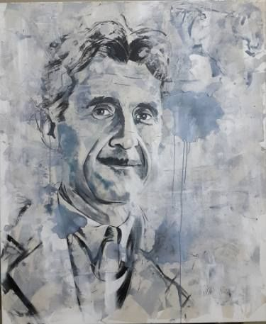 Buy George Orwell, a Acrylic on Canvas by Ulku Yilmaz from Turkey. It portrays: Portrait, relevant to: philosophy, portrait, contemporary art, modern art, ULKU yilmaz, george orwell George Orwell