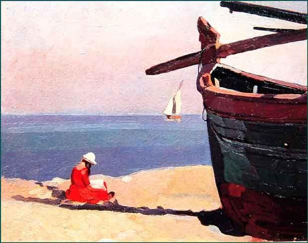 "Llewelyn Lloyd (Livorno 1879 – Firenze 1949), ""Leggendo in riva al mare"", 1921. 30x38,5"