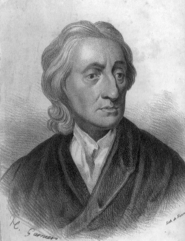 John Locke's philosophical contribution to children's literature is idea that a child's mind at birth was like a blank slate ready to be written upon and thereby receive knowledge, namely appropriate material.