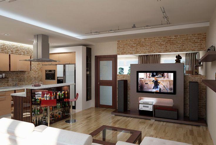 дизайн гостинной с кухней - Поиск в Google