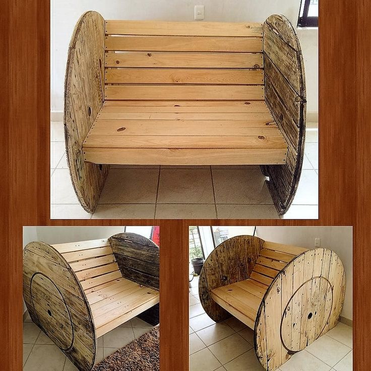 A wooden cable reel has always been an integral item in the creation of these recycled pallet furniture items. The main reason is the free availability and ease of dealing with the wooden cable reels. Here we see the closing ends are made using the shipping wood pallets.
