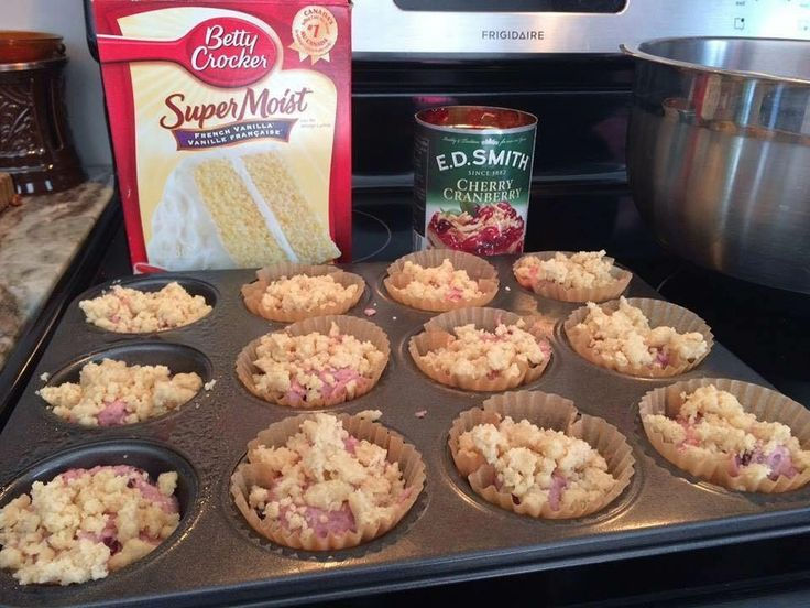 Cherry Muffins   1 cake mix (I used french vanilla)  1 can cherry pie filling (or any kind you like)   1 cup flour  1/2 cup brown sugar  1/2 cup butter softened   Mix cake mix with cherry pie filling, place in muffin tins.   Topping:  Mix flour, brown sugar and butter till crumbly. Place on top of each muffin.   Bake at 350 degrees for aprx. 25 minutes You can make this with any flavor you like, Raspberry is really good   ★ℒℴѵℯ ℒℴѵℯ★ℒℴѵℯ ℒℴѵℯ★ℒℴѵℯ ℒℴѵℯ★ℒℴѵℯ. Love Recipes☆Follow me…