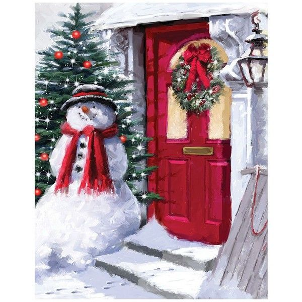Snowman Outside Red Door Canvas Wall Art (€18) ❤ liked on Polyvore featuring home, home decor, wall art, multicolor, door wall art, colorful wall art, vertical canvas wall art, outdoor wall art and outside wall art