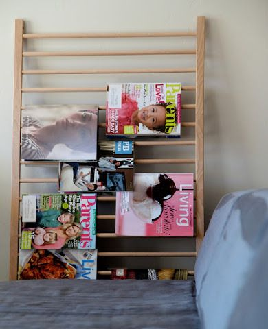 Crib-tastic    As cribs are outgrown and converted into beds, parents are left with pieces like side rails that just take up space. Turn it end up and prop it against the wall, and it instantly becomes a magazine rack that's ideal for a guest room or family room, any place a good read is desirable.