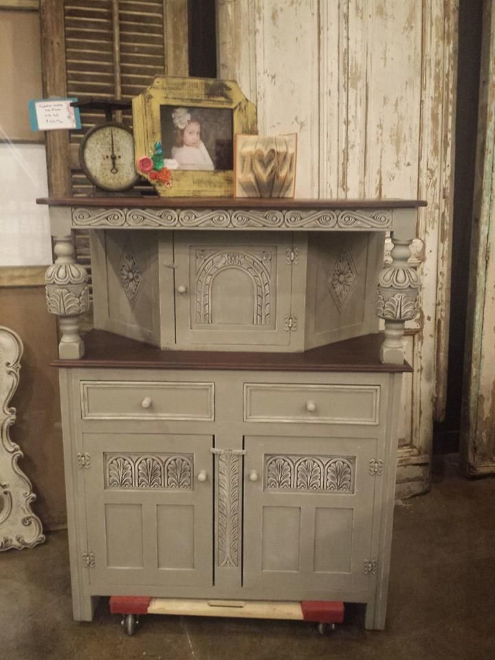 English Court Cupboard Painted In French Linen Chalk Paint