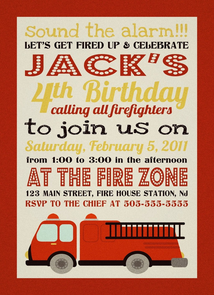 Firefighter fire truck Birthday Invitation   Party Like it ...