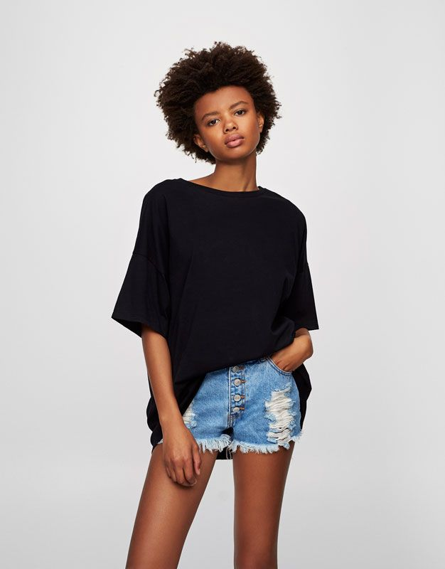 Oversized drop sleeve T-shirt - T-shirts - Clothing - Woman - PULL&BEAR United Kingdom