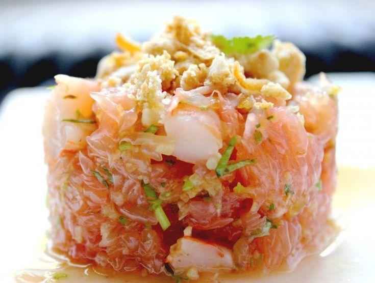 Salade thaïe de pamplemousse & crevettes, Recette Ptitchef